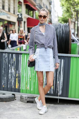 le fashion image blogger top shoes blogger style skirt tumblr mini skirt denim denim skirt shirt gingham sunglasses sneakers stan smith white sneakers low top sneakers streetstyle fashion week 2017 high neck adidas