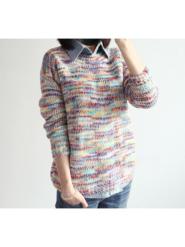 Seven colors long sleeve round neck street sweaters : kisschic.com
