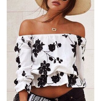 top black and white off the shoulder fashion trendy hot tan summer girly floral rose wholesale-jan