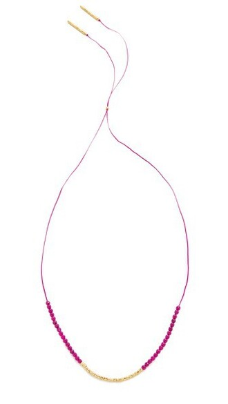 necklace gold pink jewels