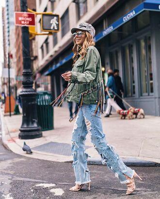 jeans hat denim heels jacket green jacket sunglasses