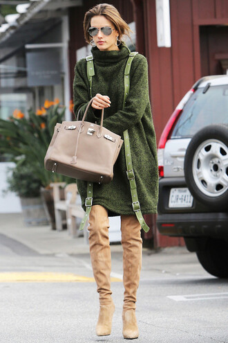 le fashion image blogger sunglasses dress shoes sweater dress green dress turtleneck dress winter outfits over the knee boots handbag