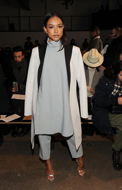 top turtleneck oversized karrueche fashion week 2015