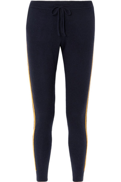 Chinti and Parker - Striped Cashmere And Wool-blend Track Pants - Navy