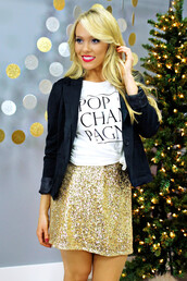 top,new year's eve,new years outfit,graphic tee,sequins,gold sequins,sequin skirt,skirt,cardigan