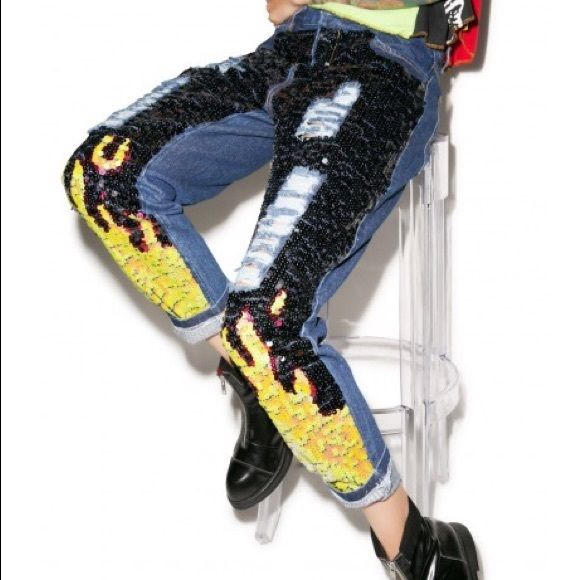 Sequin flame high waisted jeans (size s) dolls kill