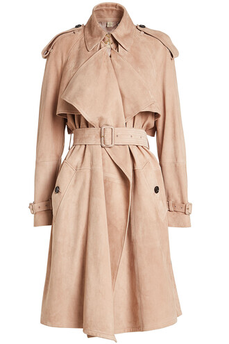 coat trench coat suede pink