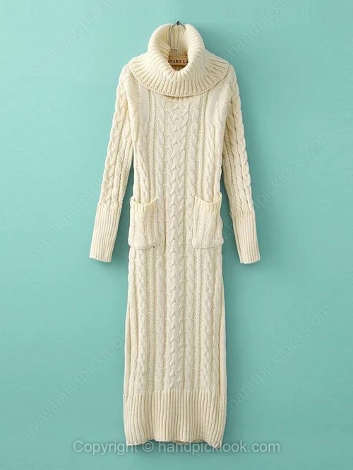 Beige High Neck Long Sleeve Pockets Dress - HandpickLook.com