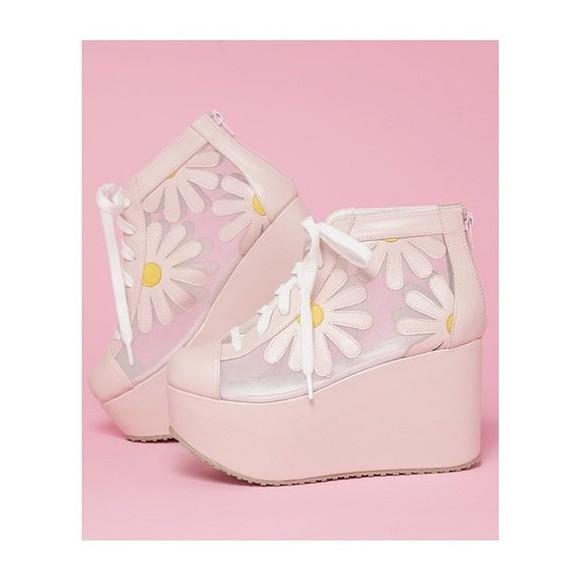 shoes mesh high heels cute high heels wedges daisy cute