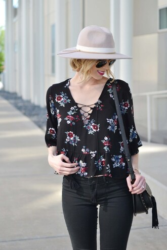 straight a style blogger top hat bag sunglasses shoes jeans