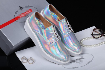 Genuine Leather &Hologram Shoes Women's Laser Silver Sneakers Creeper Shoes Iridescence Cowhide Shoes Free Shipping-in Women's Fashion Sneakers from Shoes on Aliexpress.com | Alibaba Group