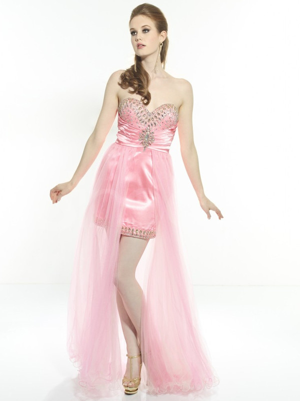 dress pink satin tulle skirt homecoming dress