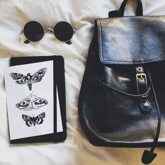 bag goth gith fashion pale pale fashion black glasses round glasses retro round sunglasses backpack bookbag round frame glasses round frame sunglasses school bag