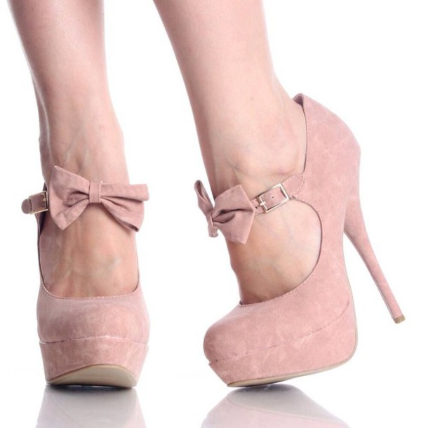 ae99ab40c7ed shoes baby pink high heels bow