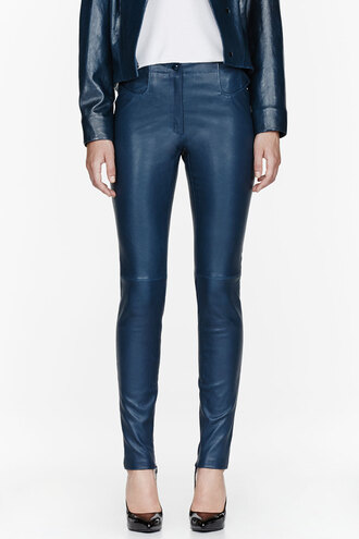 waist blue high leather pants clothes women peacock patent stretch leggings