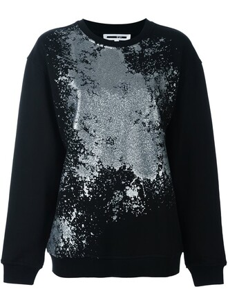 sweatshirt metallic women cotton black sweater