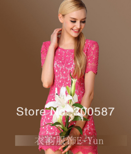 HT276,Europe station 2014 new summer women clothing major suit lace hook flower hollow out short sleeve dress,S/XL,free shipping | Amazing Shoes UK