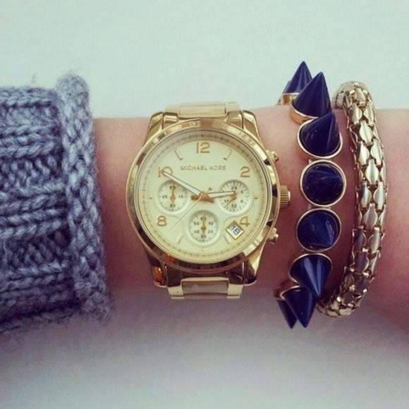 stacked jewelry jewels michael kors gold watch navy bracelets