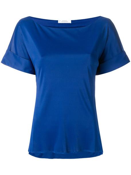 Versace Collection blouse women blue satin top