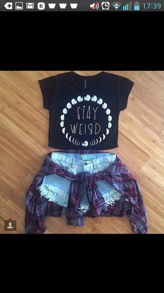 t-shirt stay weird top denim shorts