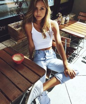 jeans,shirt,shorts,shoes,high waisted jeans,alexis ren,light blue jeans,high waisted light blue jeans,white crop tank,top,model,denim,sneakers,adidas shoes,adidas,grey sneakers,white crop tops,white top