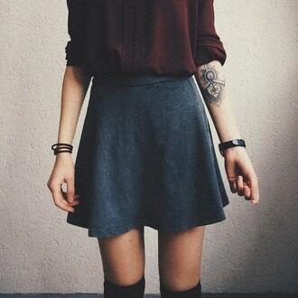 skater skirt grey skirt tattoo