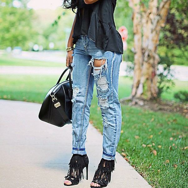 jeans shoes fringe shoes