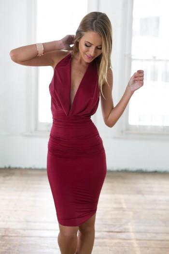 7f284fb28103 Wine-colored Bodycon Dress w  Halter Neck