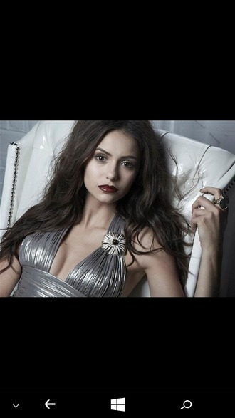 dress silver dress embroidered embellished wavy hair pale dark lipstick classy classy dress nina dobrev