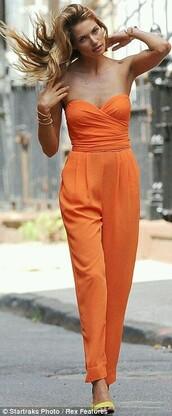 jumpsuit,orange,strapless