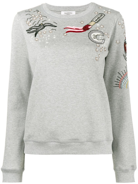 Valentino sweatshirt embroidered metallic women tattoo cotton grey sweater