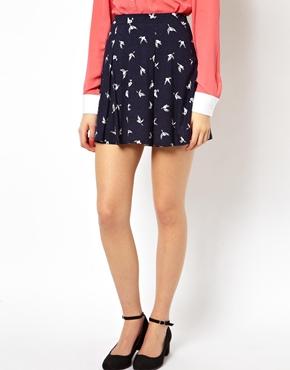 ASOS | ASOS Skater Skirt in Bird Print at ASOS