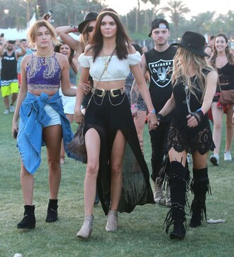 top off the shoulder crop crop tops coachella kendall jenner hailey baldwin belt necklace jewels pants hair accessory skirt