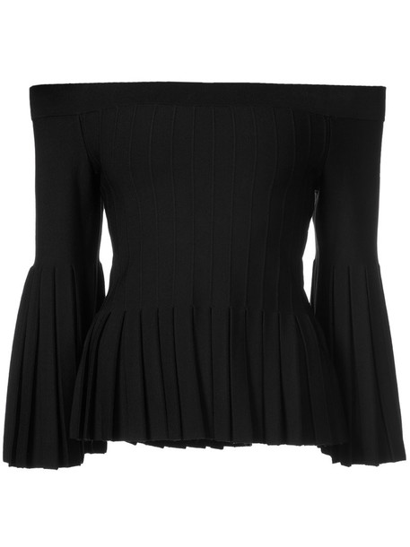 blouse pleated women spandex black top