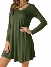 dress,girly,green,olive green,long sleeves,long sleeve dress,strappy