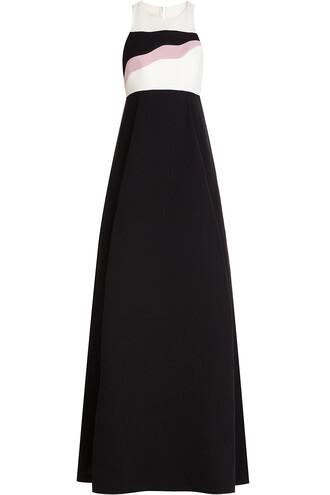 gown silk wool black dress