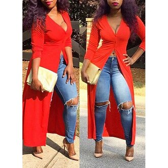 top red sexy trendy long sleeves sexy plunging neck 3/4 sleeve high slit women's maxi dress hot summer maxi asymmetrical dress rose wholesale-dec