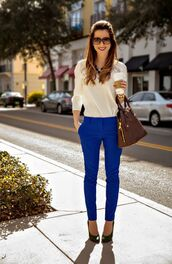 pants,blue pants,shirt,white shirt,pumps,black pumps,pointed toe pumps,bag,brown bag,sunglasses,spring outfits,office outfits