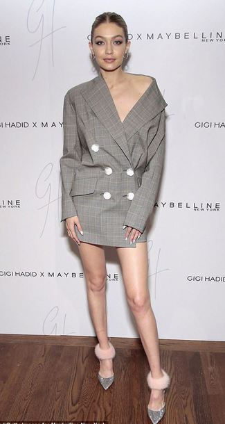 dress blazer blazer dress gigi hadid model pumps socks shoes
