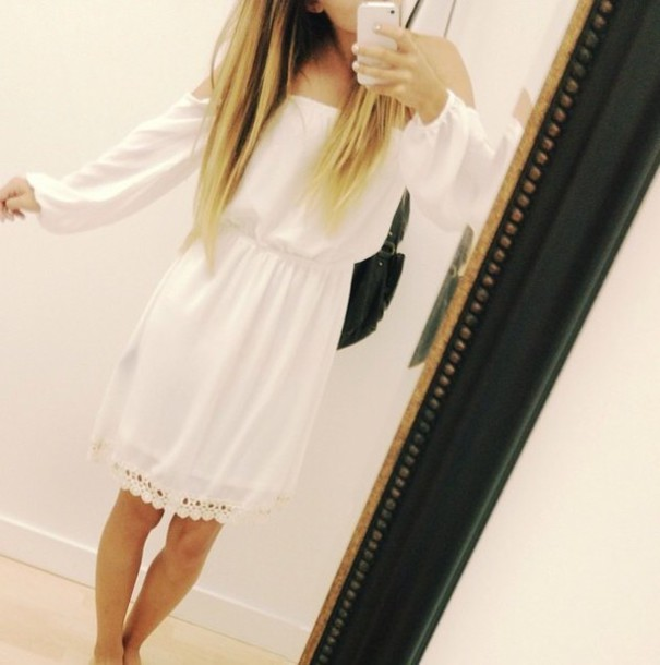 dress white dress lace dress style boho pretty top dress long dress