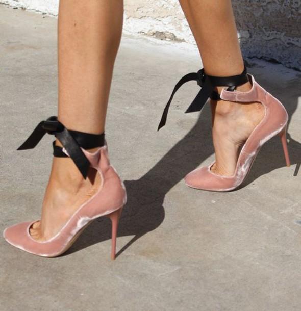6f19af5d544 shoes velvet velvet shoes pink heels pink shoes pink dusty pink heels bow heels  pointed toe