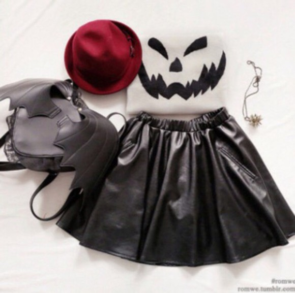 hat bag halloween accessory halloween bats leather skirt