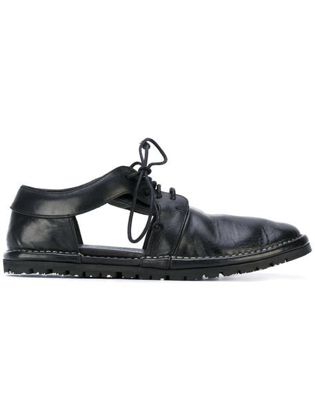 cut-out women shoes lace-up shoes lace leather black