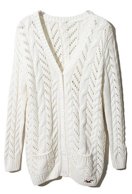 White long sleeve pockets cardigan sweater