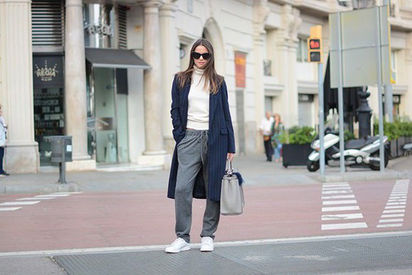 bag fashion vibe blogger sunglasses turtleneck coat grey sweatpants