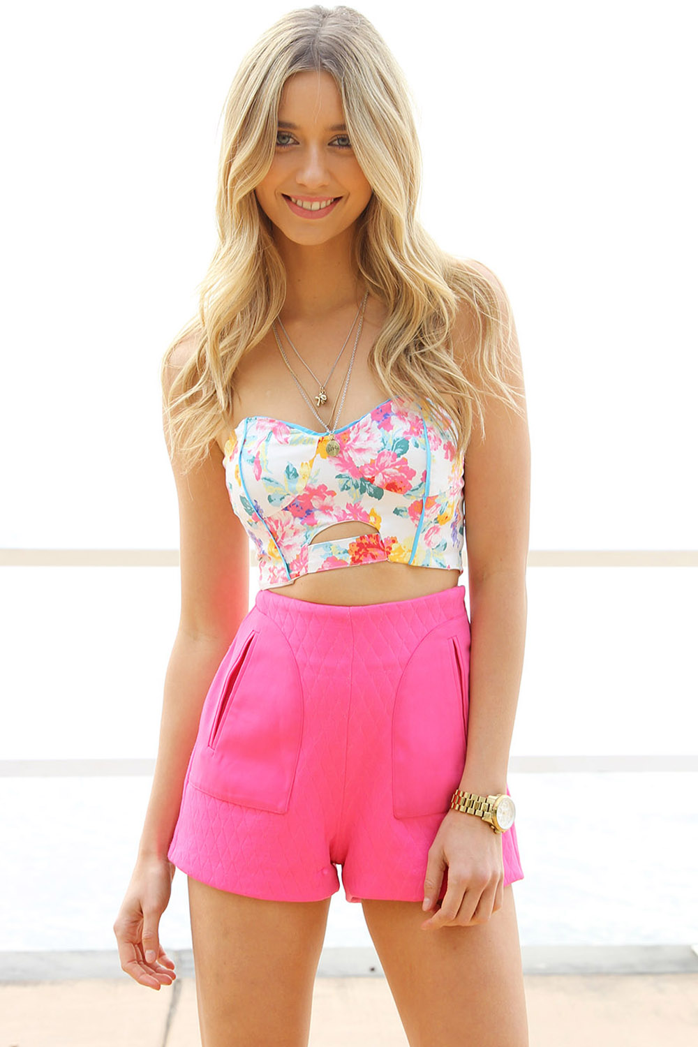 Multi Party Top - Floral Print Strapless Bustier Crop | UsTrendy