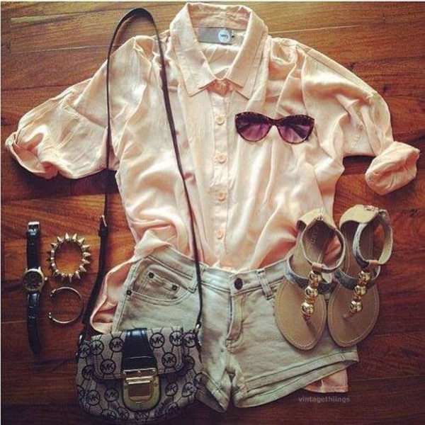 blouse shorts shoes bag hipster sandals new sunglasses buttonupshirt spiked bracelet bracelets gold watch shirt cream high waisted denim shorts peach button down shirt collared jewels