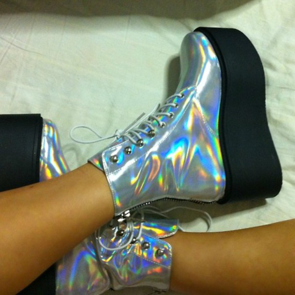 Shoes: heels, flatforms, platform shoes, holographic, boots, laces ...