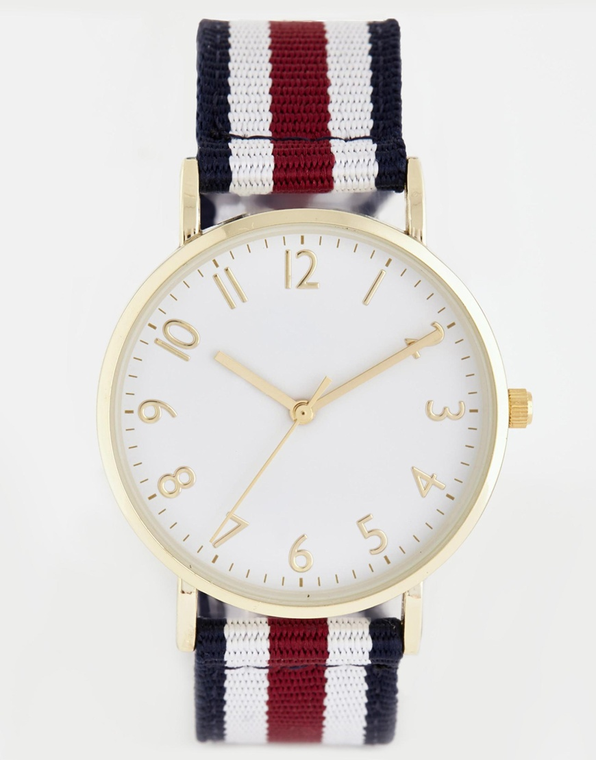 New Look Canvas Stripe Strap Watch at asos.com