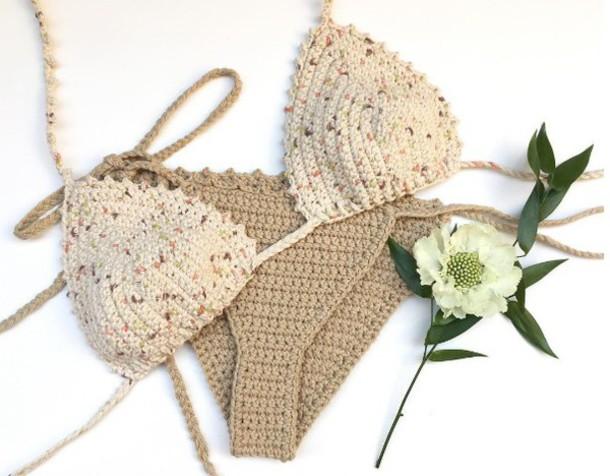 swimwear girl girly girly wishlist crochet crochet bikini bikini top bikini bottoms brown beige swimwear two piece two-piece halter bikini